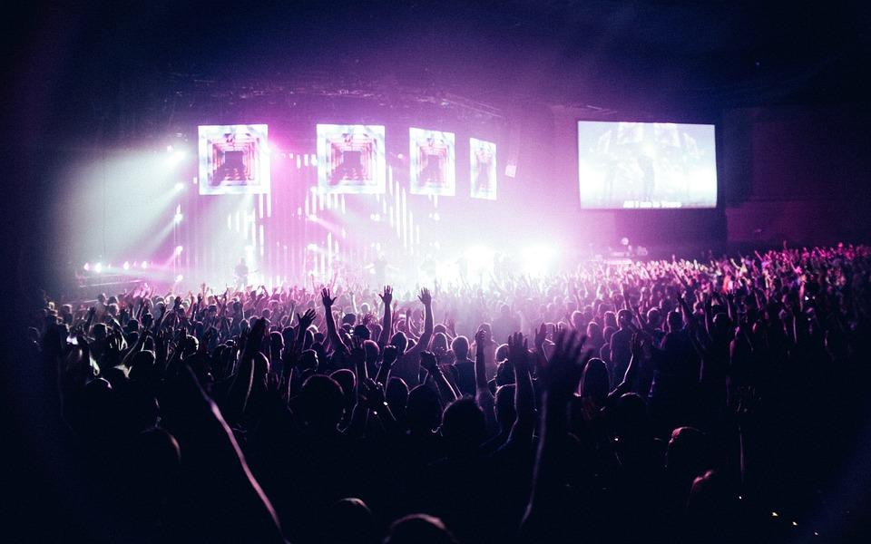 People Crowd Stage Spotlight Concert Stadium