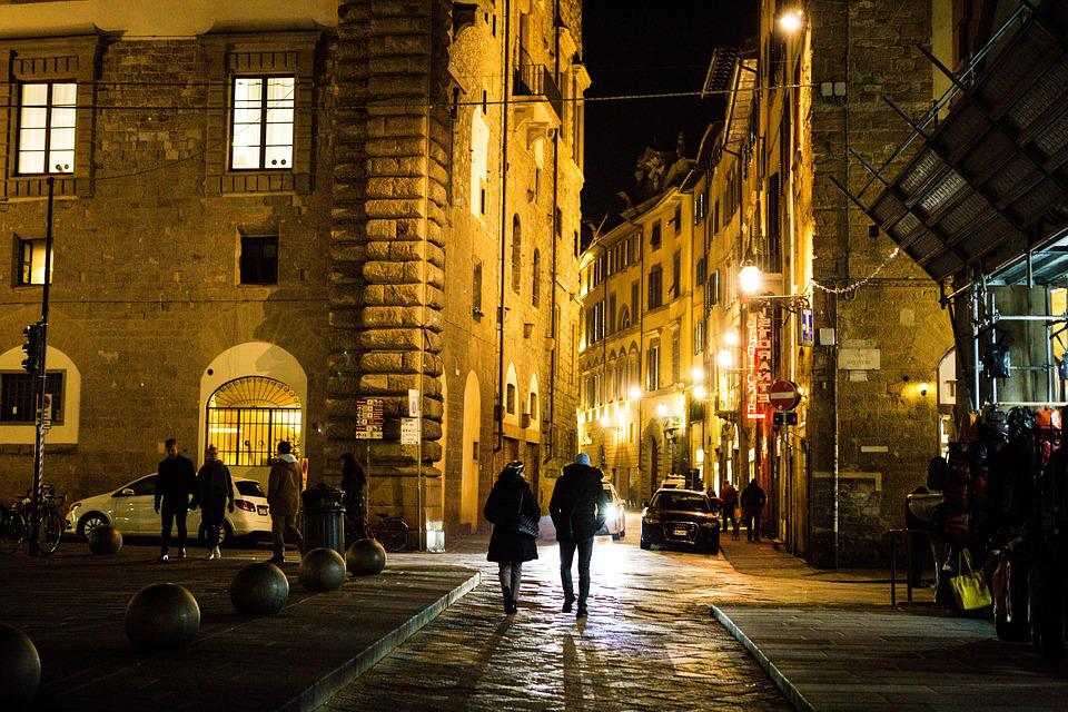Florence, Street, People, City, Evening, Italy, Night