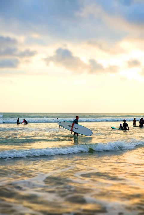 Surfer, People, Beach, Bali, Balangan, Indonesia, Ocean