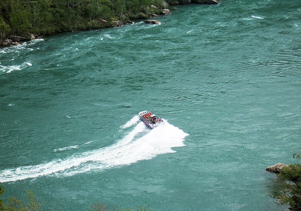 Boat, Motorized, Speed, Turning, River, Torrent, People