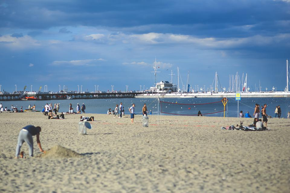Beach, People, Pier, Marina, Voleyball, Fun, Vacation