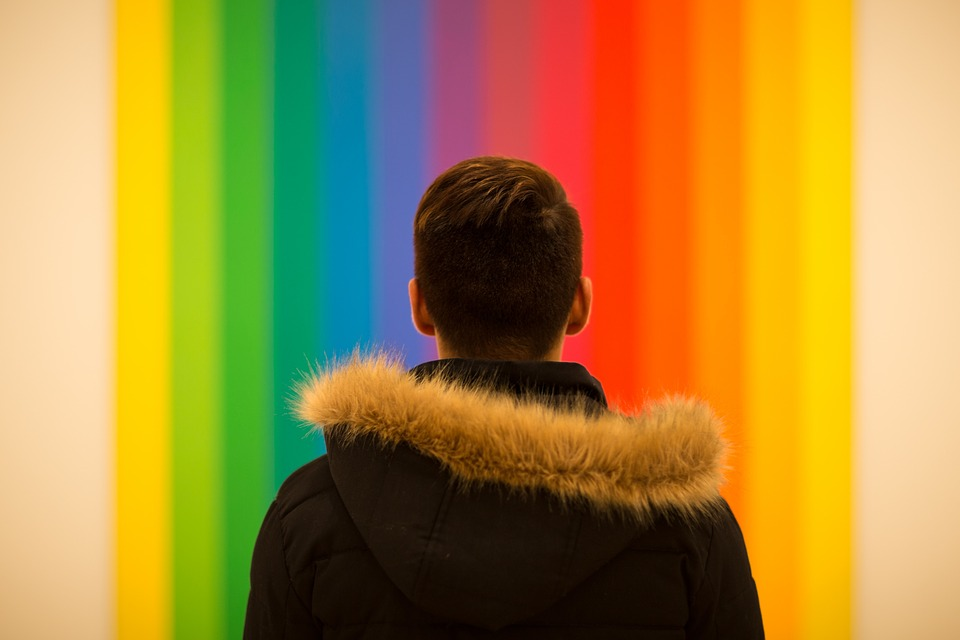 Colorful, Wall, Hoodie, Back, People, Man, Alone