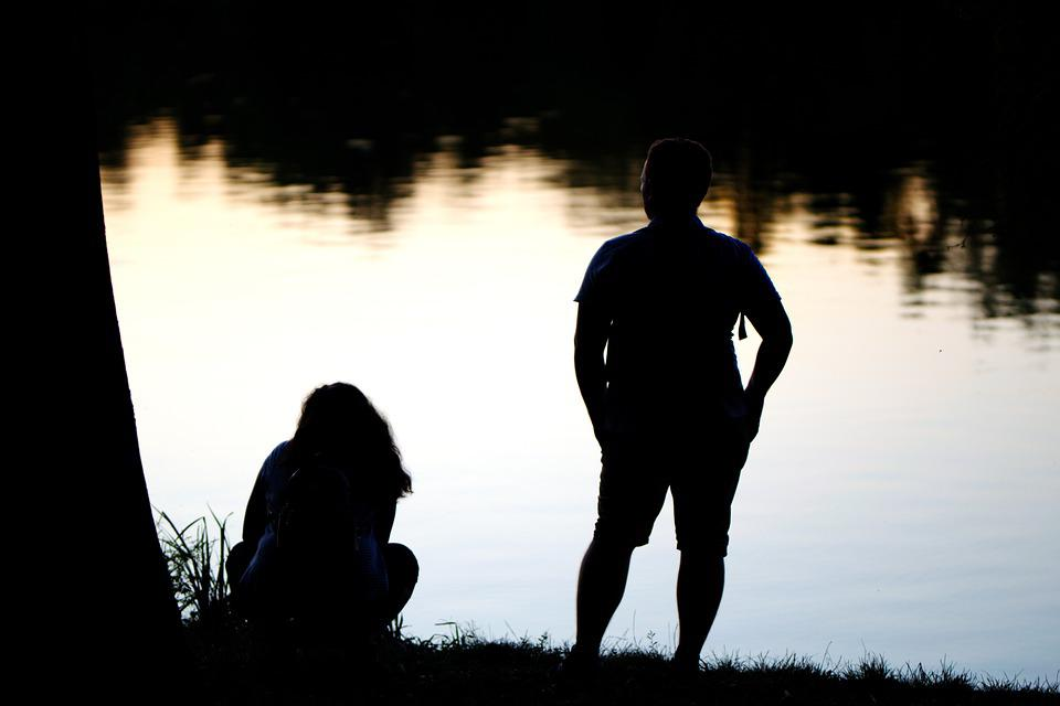 People, Couple, Silhouettes, Man, Woman, Tucked Away