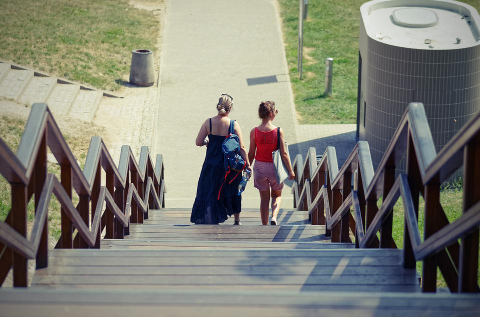 Women, People, Tourists, Descending, Stairs, Wood, City