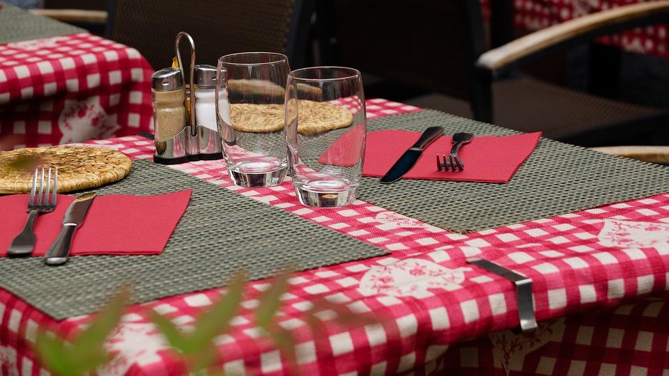 Restaurant, Table, Set, Salt, Pepper, Cutlery, Fork