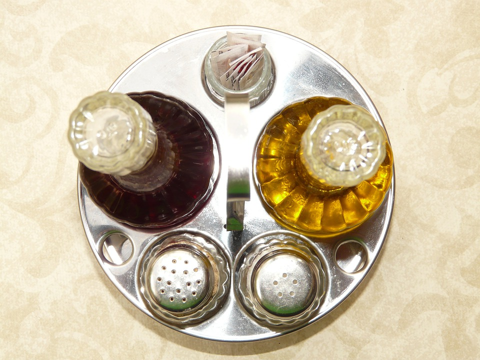 Salt, Pepper, Vinegar, Oil, Salt Shaker