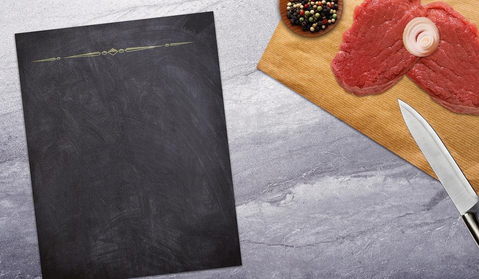 Board, Meat, Knife, Table, Onion, Peppercorns, Eat