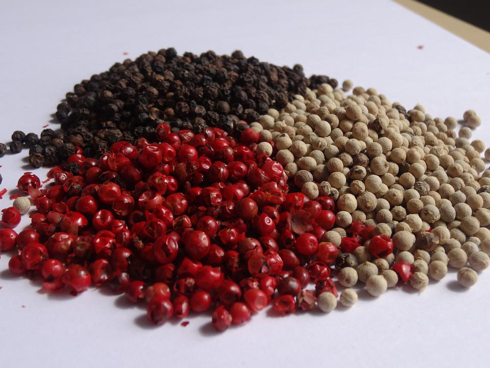 Pepper, Spices, Peppercorns, Red Black, Food