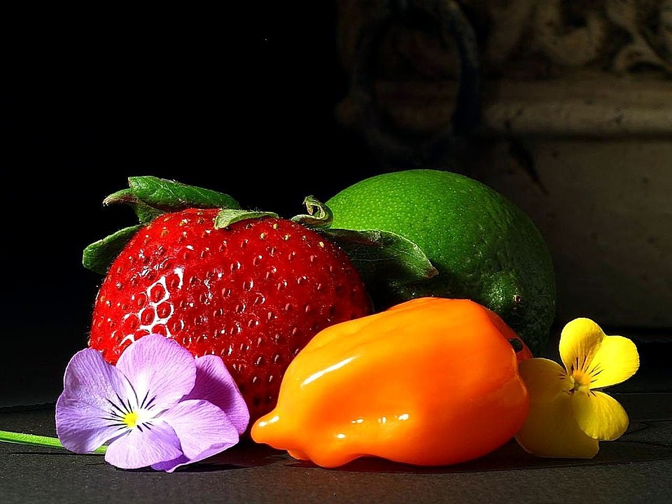 Peppers, Limes, Strawberries, Srawberry, Fruits, Plants