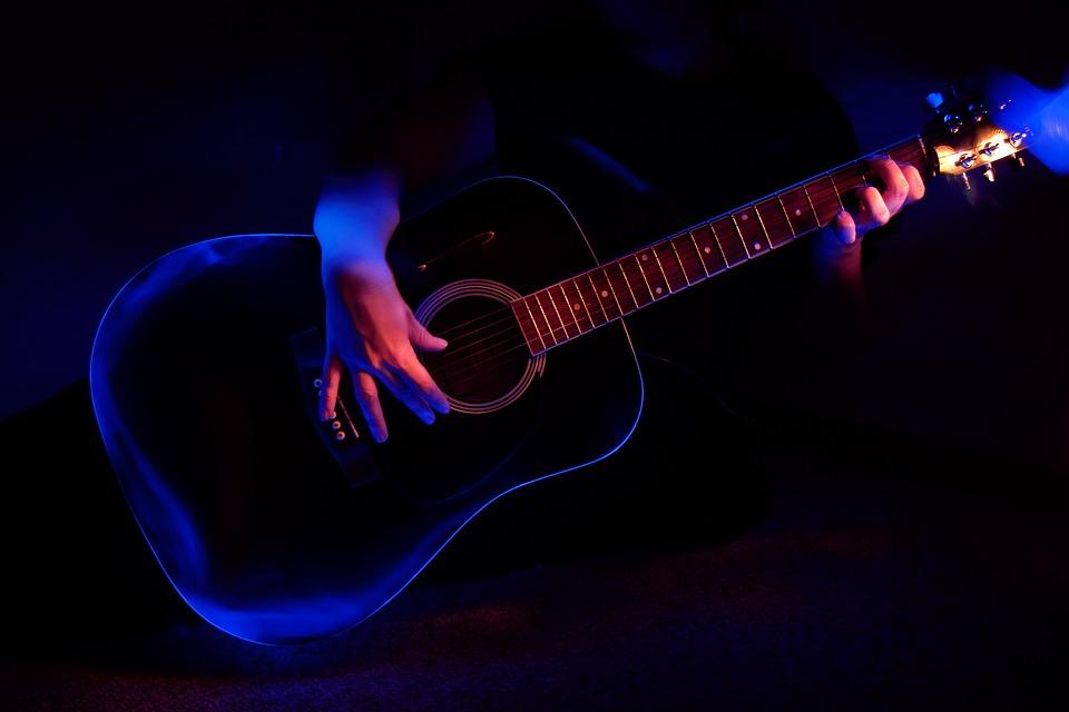 Music, Performance, Guitar, Light, Blue