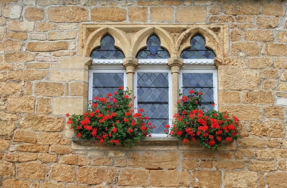 France, Dordogne, Périgord, Window, Pierre, Flowers
