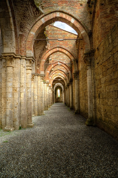 Archway Peristyle Gothic Abbey Hdr Italy Religion
