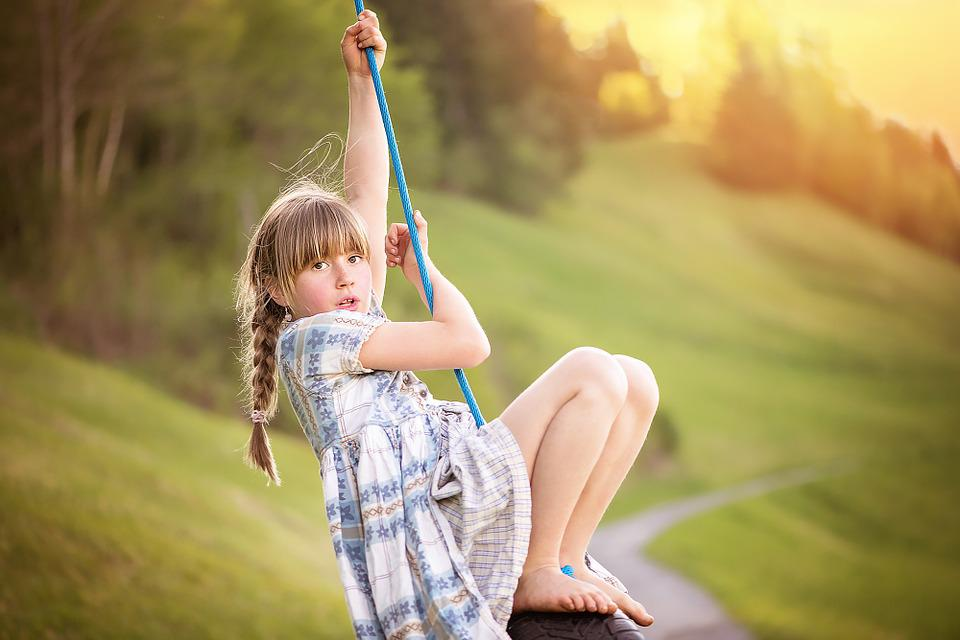 Person, Human, Child, Girl, Blond, Rock, Play