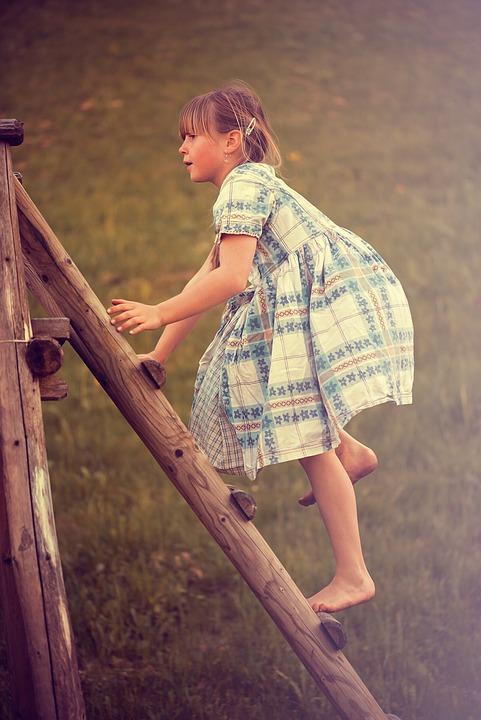 Person, Human, Child, Girl, Dress, Climb, Head, Play