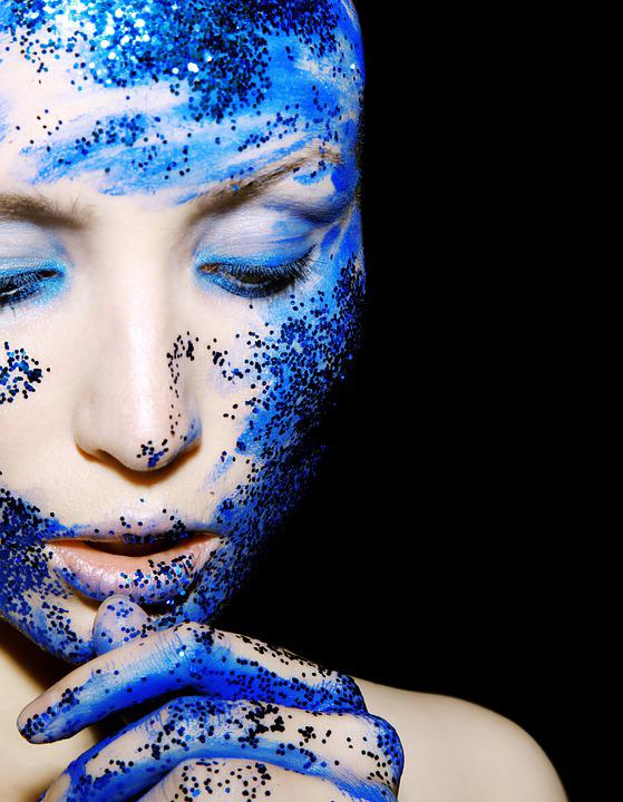 Beauty, Portrait, Blue, Creative, Model, Person