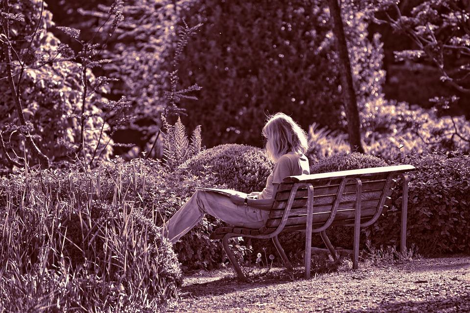 Person, Woman, Sitting, Reading, Bench, Garden