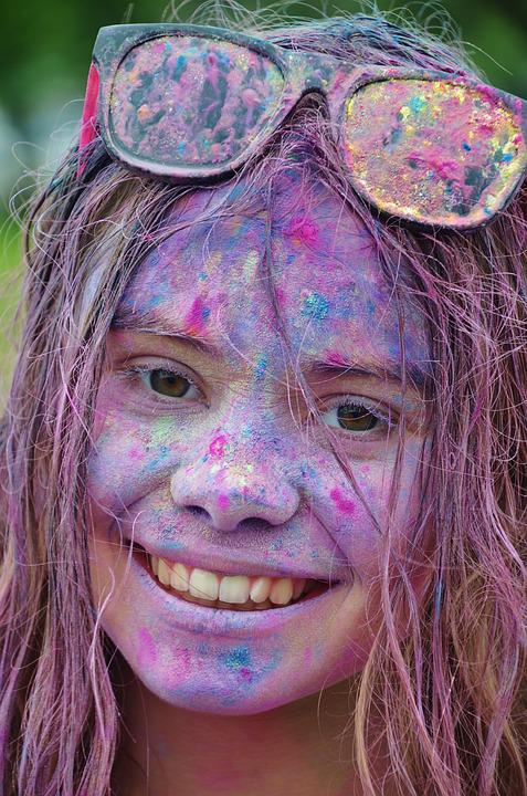 Girl, Colorful, Happy, Person, Funny, Celebration