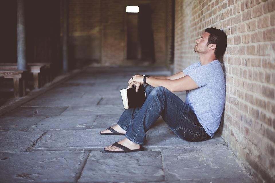 Alone, Book, Brick Wall, Bricks, Man, Person, Solo