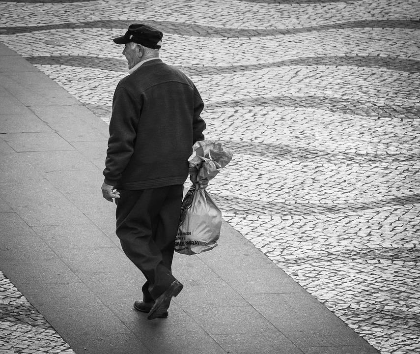 Man, Old, Person, Pensioners, City, Cobblestones, Bear