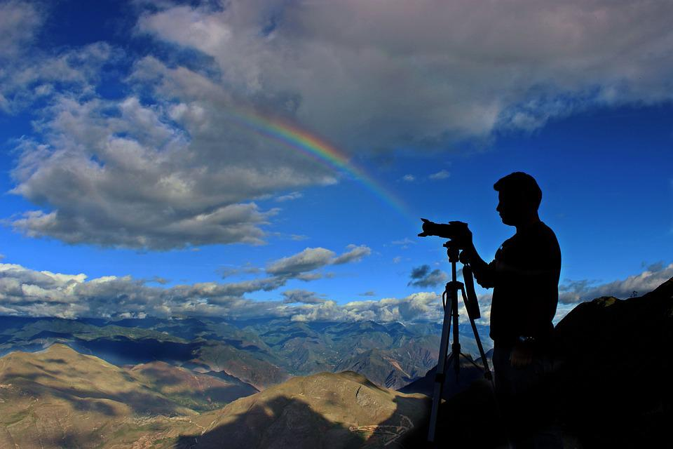 Camera, Clouds, Mountain Range, Mountains, Person