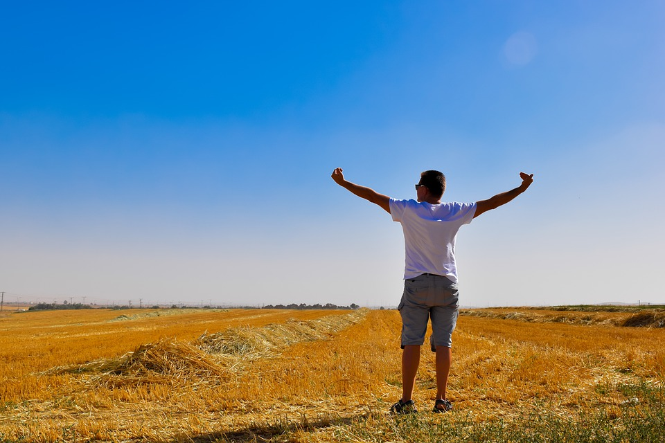 Sky, Strew, Happiness, Man, Male, Person, Nature