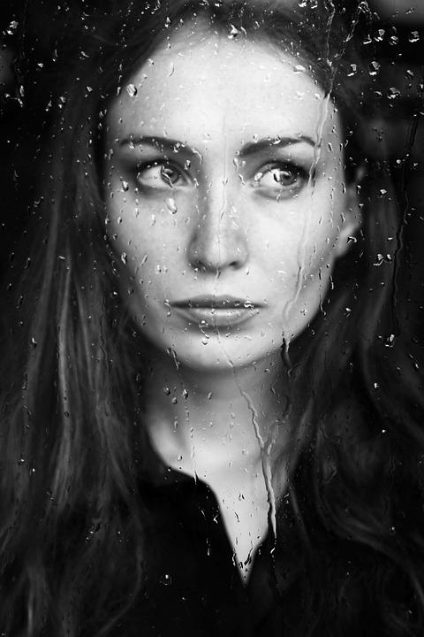 Woman, Behind, Window, Pane, Rainy, Rain, Person
