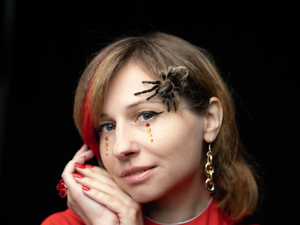 Spider, Tarantula, Person, View, Cosmetics, Sequins