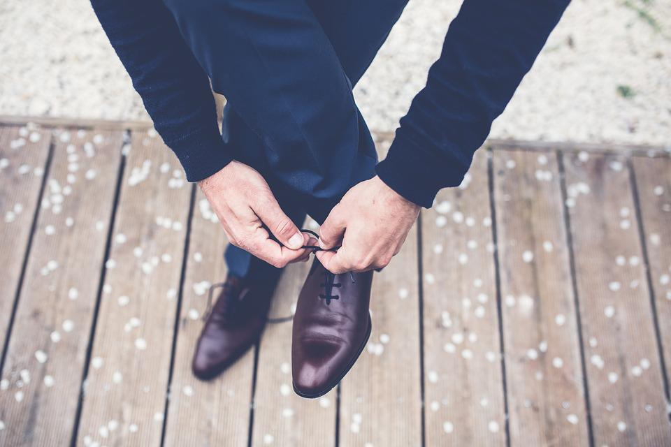 Feet, Footwear, Hands, Man, Person, Shoes, Tying Shoes