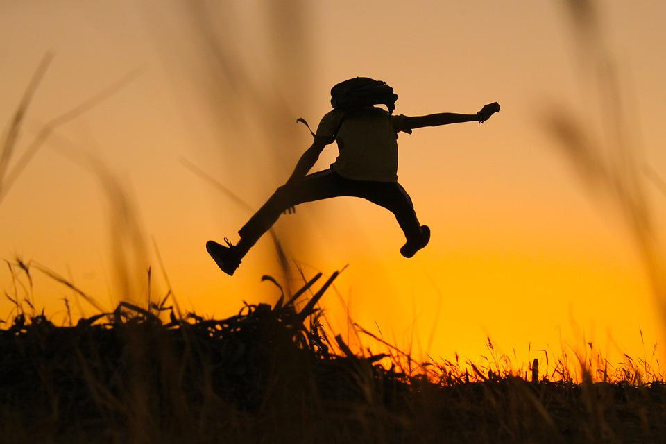 Silhouettes, Person, Person Jumping High, Jump, Up