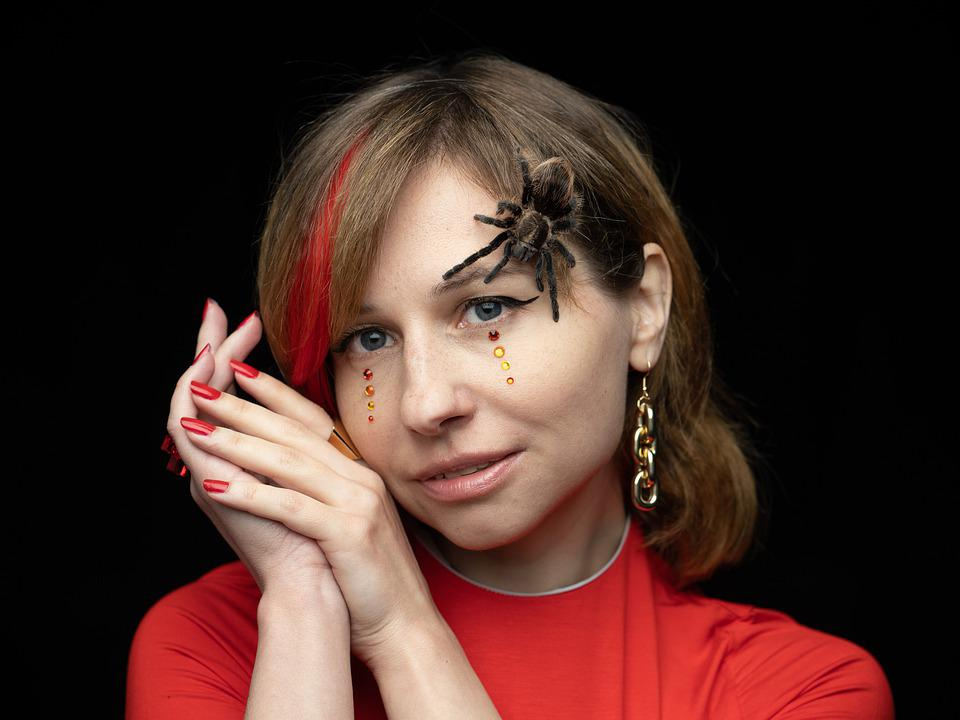 Spider, Tarantula, Person, View, Cosmetics, Sequins