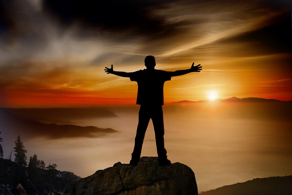 Sunset, Mountain, Stone, Man, Person, Joy, Poor, Spread