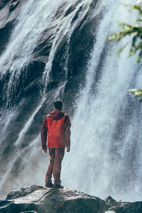 Man, Nature, Person, Standing, Water, Waterfall