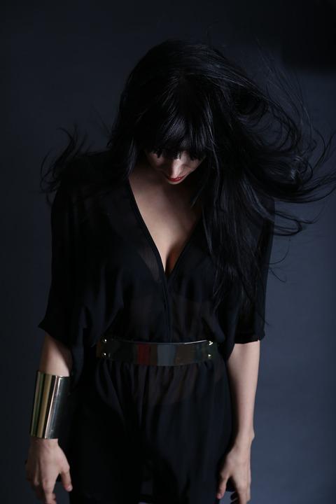 Woman, Girl, Person, Figure, Dark, Black, Head, Down