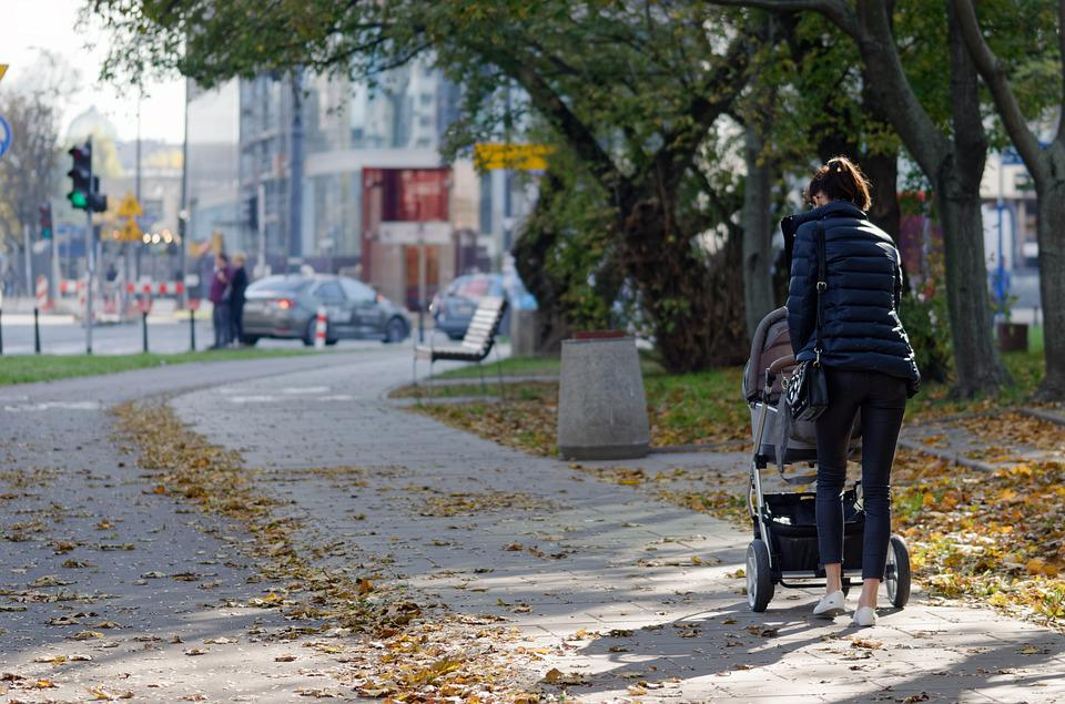 Woman, Person, Young, Parent, The Cart, Baby, Going