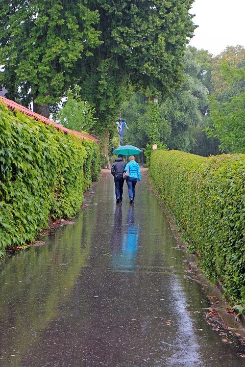 Walk, Rain, Rained Out, Personal, Pair, Umbrella, Wet