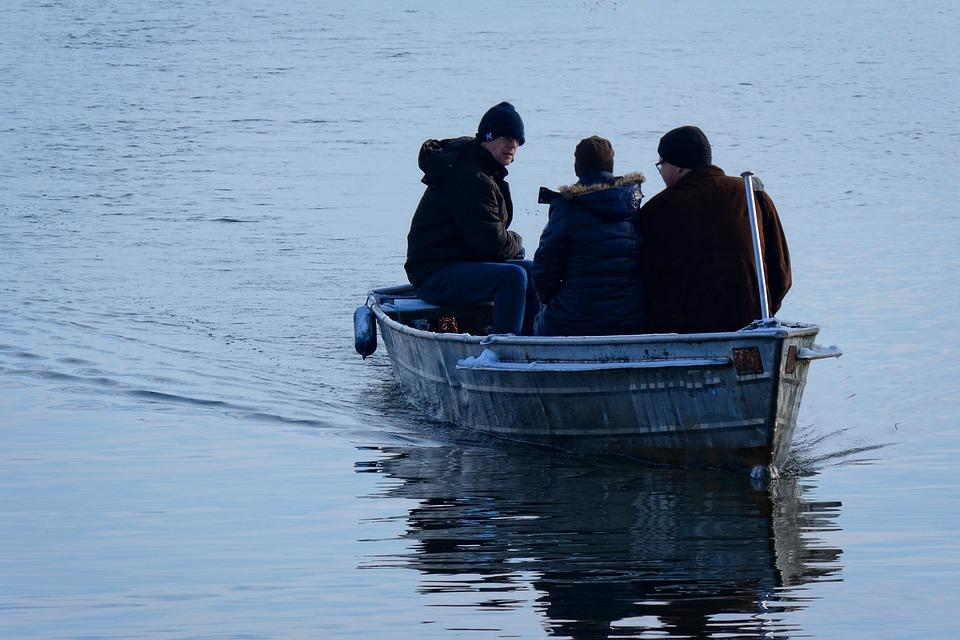 Winter, Wintry, Lake, Waters, Boot, Personal, Transport