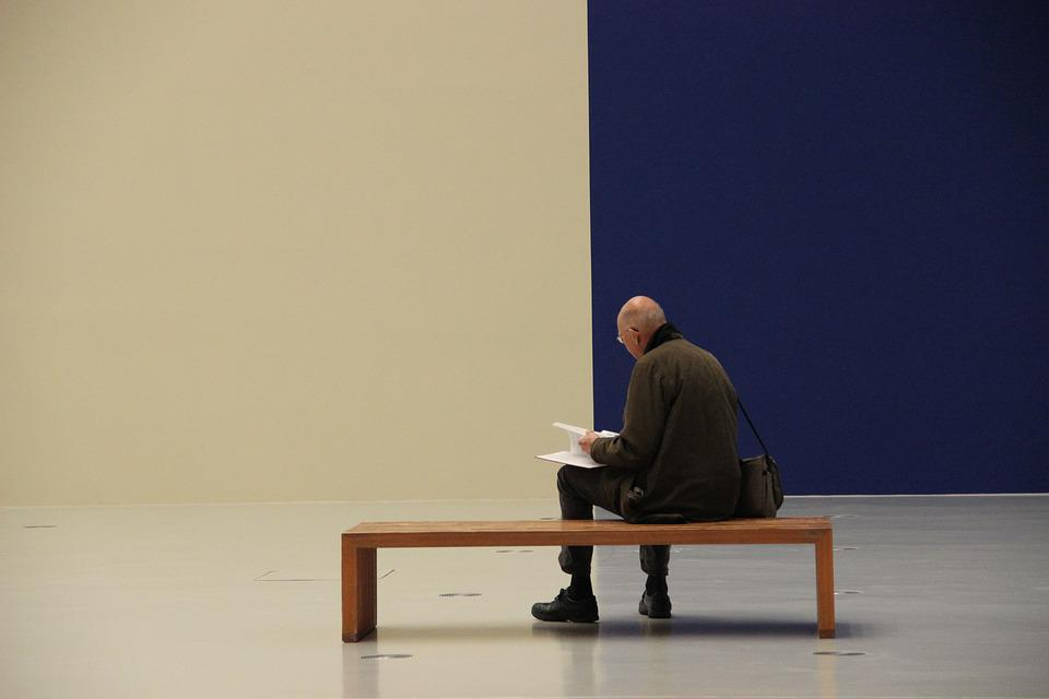 Man, Bank, Perspective, Wall, Blue, White