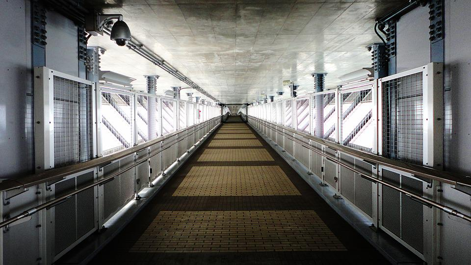 Aisle, Perspective, Security, Concrete, Steel Frame