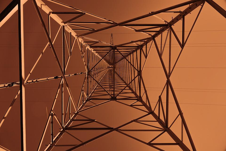 Strommast, Perspective, High Voltage, Energy, Current