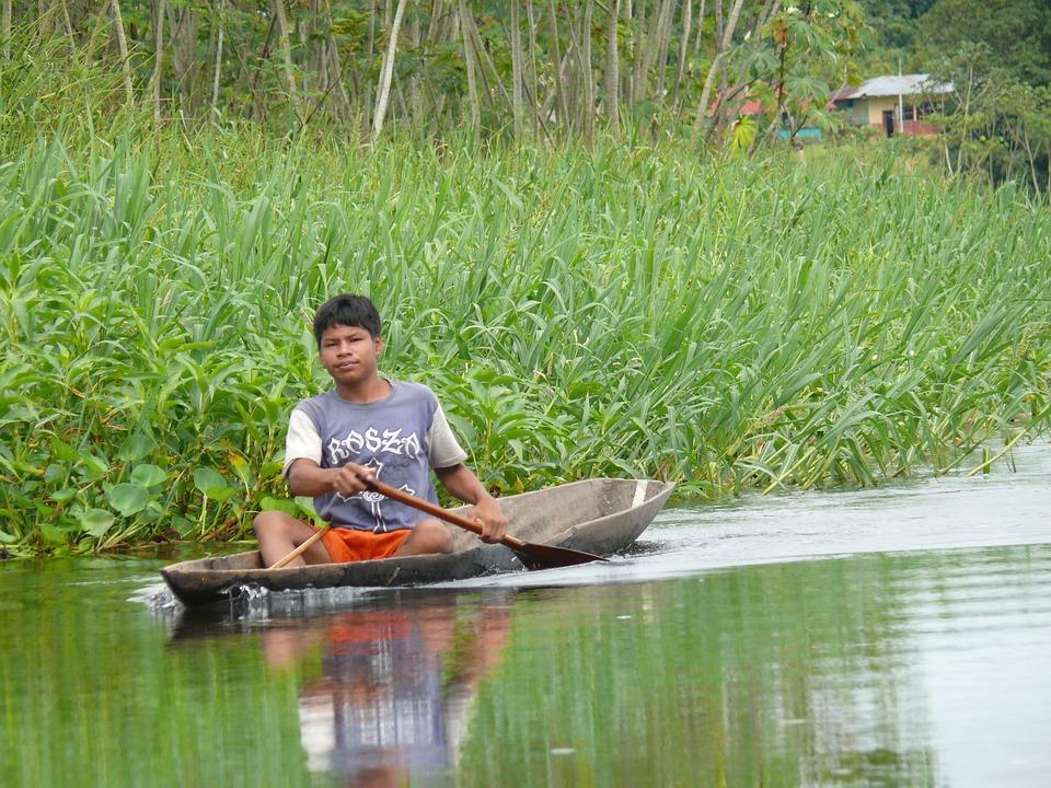 Peru, River, Boat, Green, Forest, Rainforest