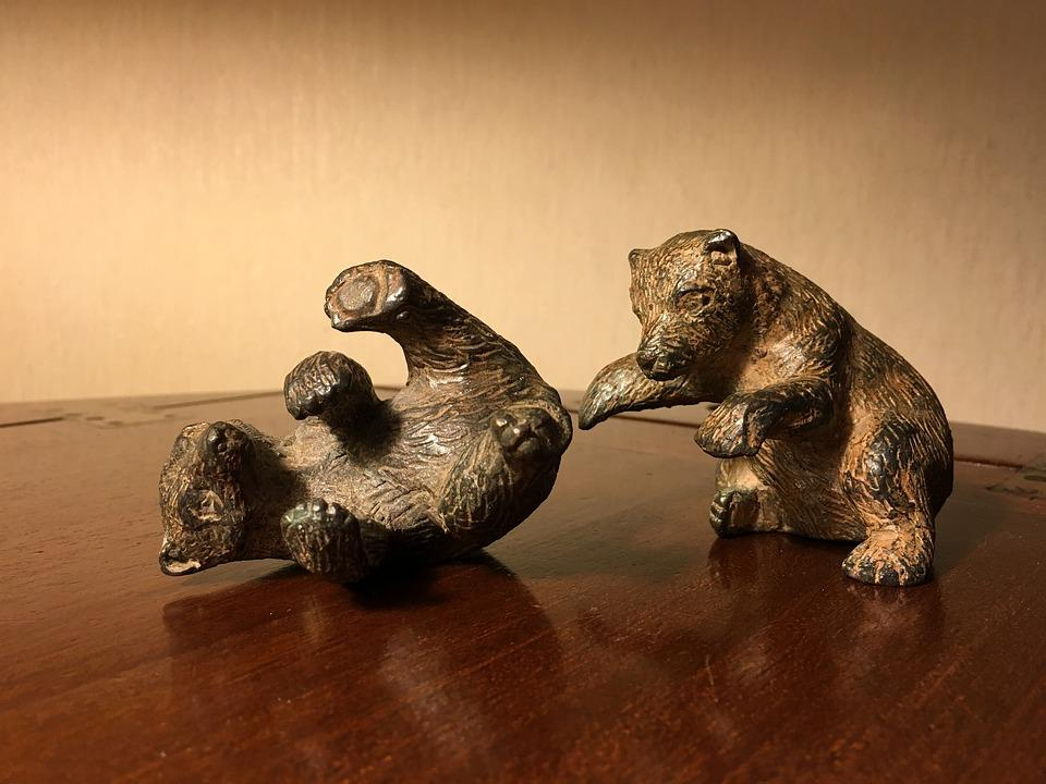 Pet Plastic, Bronze, Bear, Figures, Decoration