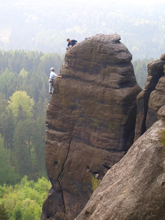 Elbe Sandstone Mountains, Pfaffenstein, Mountaineer