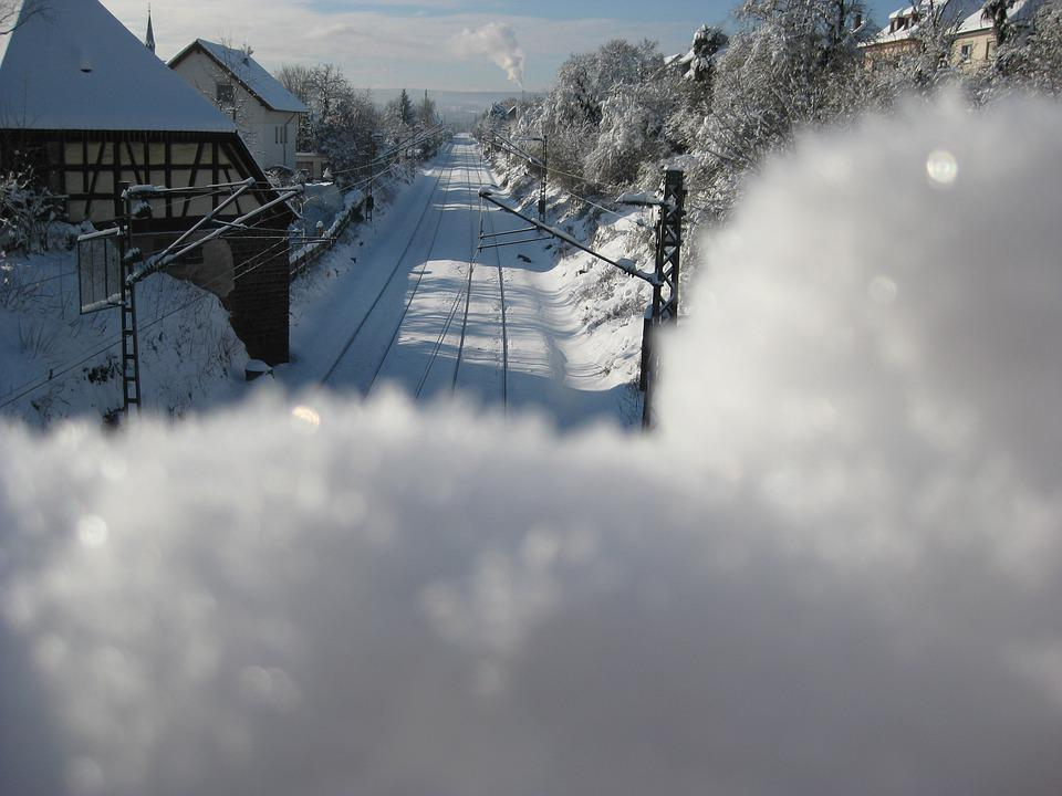 Winter, Snow, Pforzheim, Eutingen, Railway
