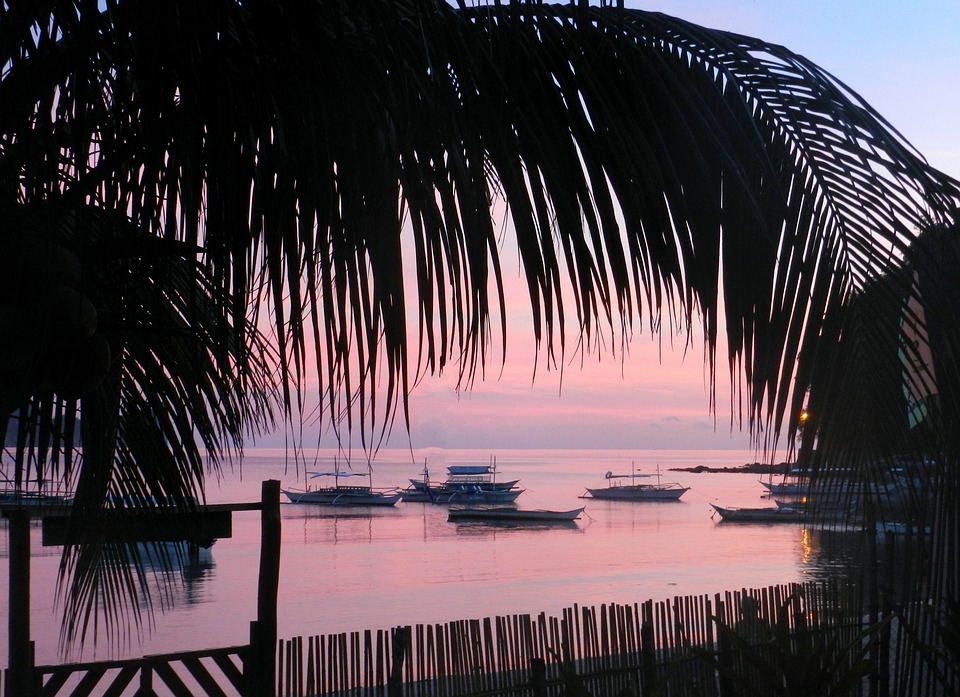 Sunset, Sunrise, Philippines, Island, Sea, Boats, Ships