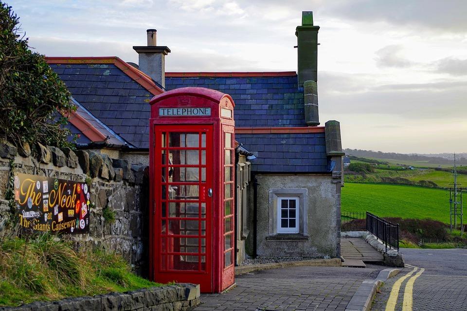 Ireland, Phone Box, Red Cabin, Red, English