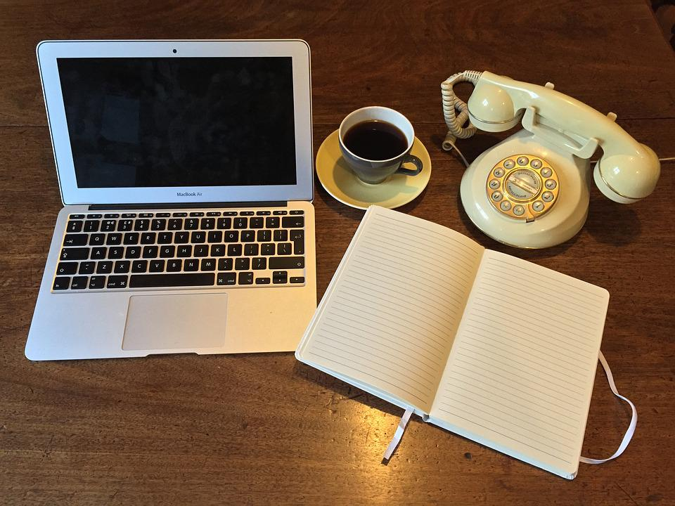 Laptop, Old Telephone, Phone, Vintage, Notebook, Desk