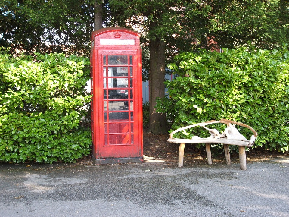 Phonebox, British, Park, Tree, Bench, England, Parks