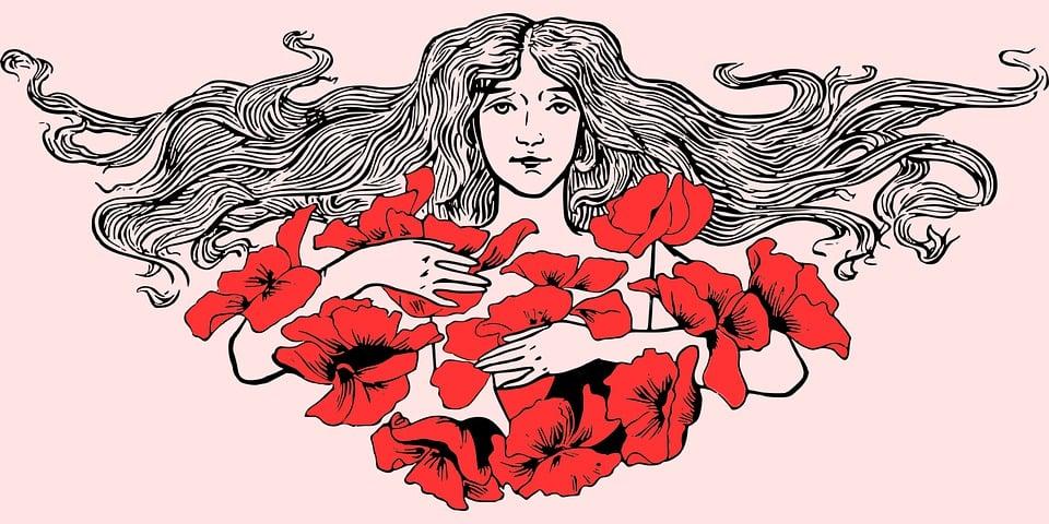 Woman, Roses, Girl, Hair, Beautiful, Feeling, Photo