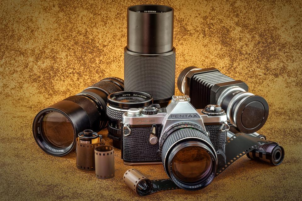Lenses, Analog, Old, Camera, Pentax, Photo, Film