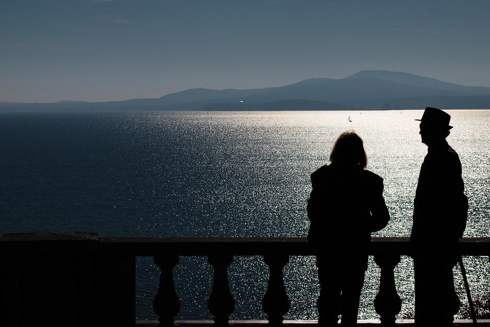 Photo, Old, Couple, Watching, Sea, Silhouette, Blue